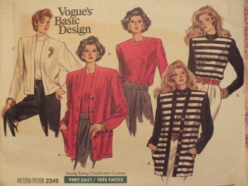 Lovely VTG 89 VOGUE 2345 MS//MP Knit Cardigan /& Top PATTERN 8-10-12//14-16-18 UC