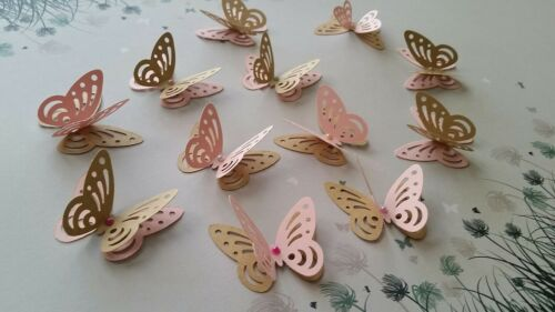 Paper butterflies Wedding Party table decorations pink and craft brown 24pcs 3D