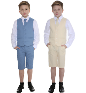 c0e338b78de8 Image is loading Boys-Suits-Linen-Suit-4-Piece-Short-Set-
