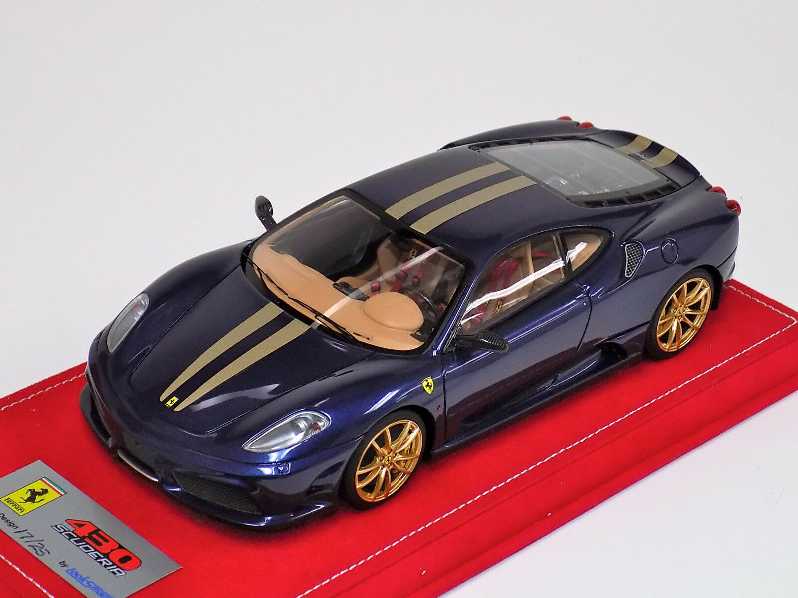 1 18 Looksmart Ferrari F430 Scuderia bluee tdf gold stripe gold Wheels Alcantara