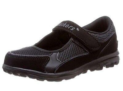 Nuevo Chicas Skechers Go Walk Daydreamin Cuero Negro Zapatos Escolares UK 10.5 EUR 28