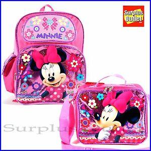 15ec2ad53ba Minnie Mouse Backpack 16  Large School Book Bag Lunch Bag 2pcs Set ...