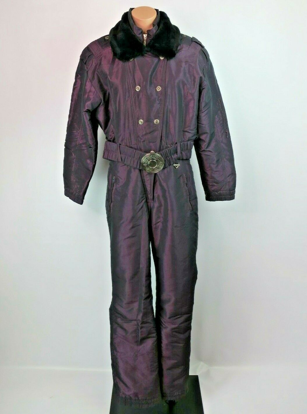 VTG 80s Fera Purple Iridescent Fur Collar One Piece Ski Snow Suit Womens 8