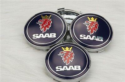 Set of 4 SAAB BLACK Center Cap Hub Alloy Wheel 63mm for 9-3 9-5 900 9-3 93 95