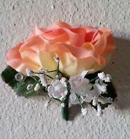Peach Velvet Open Rose Boutonniere