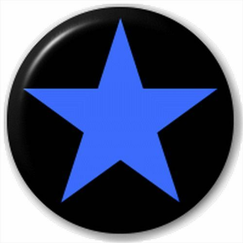 Small 25mm Lapel Pin Button Badge Novelty Blue And Black Plain Star