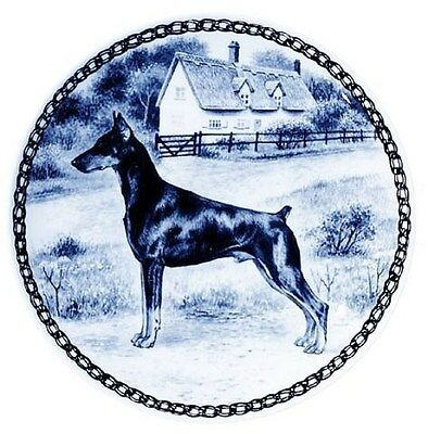 DOBERMAN PINSCHER (CROPPED EARS): DANISH BLUE PORCELAIN PLATE #7321