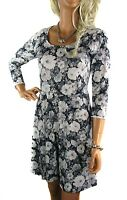 WOMEN'S SIZE 10 -22 NEW WHITE GREY BLACK 3/4 SLEEVE FLORAL SHORT DRESS
