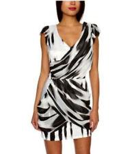 Stunning Lipsy Size 8 Grecian Drape Bodycon Dress Party Club Black & White Mono