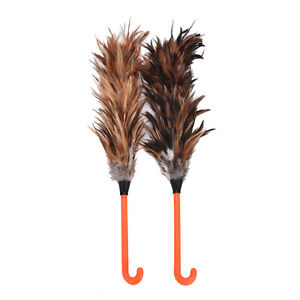 NEW-Feather-Fur-Brush-Duster-Dust-Cleaning-Tool-Plastic-Hooked-Handle-45cm-O