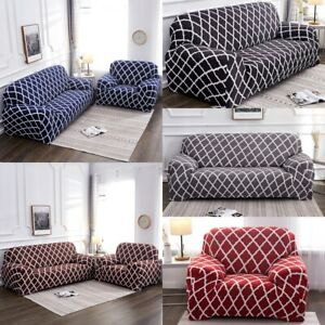 Swell Details About Stretch Lattice Slipcover 1 2 3 4 Seater Couch Cover Solid Color Sofa Protector Gmtry Best Dining Table And Chair Ideas Images Gmtryco