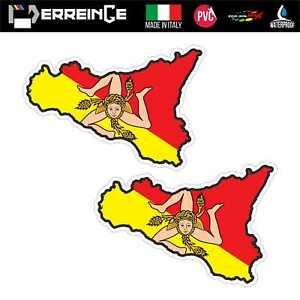 Sticker-SICILIA-Adesivo-Parete-Souvenir-Decal-Murale-Bandiera-Stemma-Flag