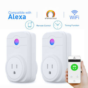 2X-Mini-US-Smart-Plug-WiFi-Outlet-Timer-Compatible-With-Alexa-034-eFamilyCloud-034-APP