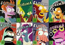 FUTURAMA 1-8 COMPLETE SEASON 1 2 3 4 5 6 7 8 DVD BOX DEUTSCH