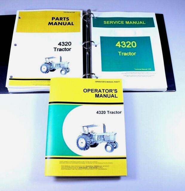 Service Operators Parts For Manual Set John Deere 4320 Tractor Shop