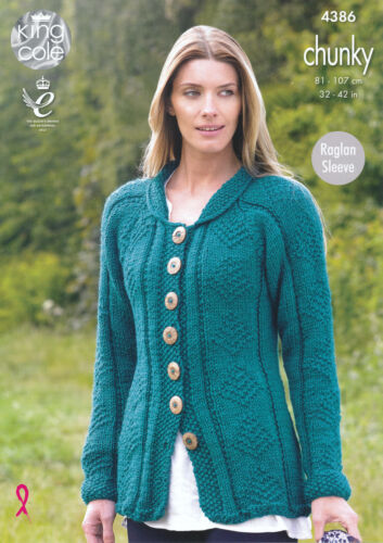 Knitting Pattern Womens Raglan Sleeve Cardigans King Cole Ladies Chunky 5496