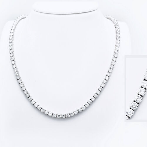 """30/"""" Created Diamond Tennis Necklace 55.00tcw Round 925 Solid Sterling Silver 3mm"""