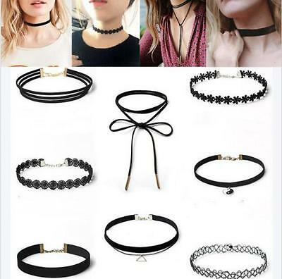 Hot Sexy Jewelry Set 8Pcs Gothic Punk Velvet Lace Choker Pendant Chain Necklace
