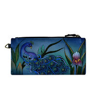 Anna by Anuschka Gray Midnight Peacock   Hand - Painted  Leather Wallet  NWT