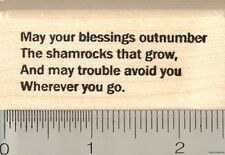 St. Patrick's Day Blessing Rubber Stamp, May your blessings E4607 WM IRISH