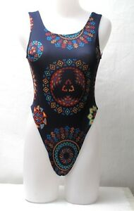 New-Blue-Tribal-Pattern-Thong-Leotard-Bodysuit-for-Women-size-10-Small