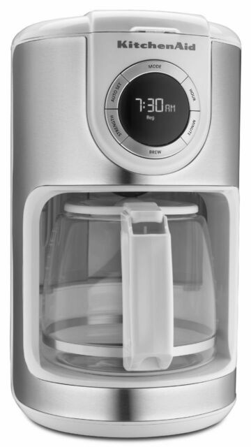 KitchenAid White 12 Cup Glass Carafe Digital Coffee Maker kcm1202wh