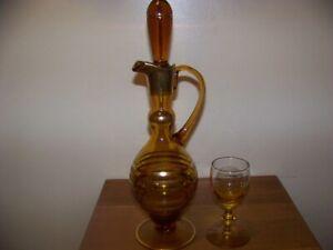 6 vintage amber yellow 2 oz cordial liquor wine glasses w/decanter  Mid Century