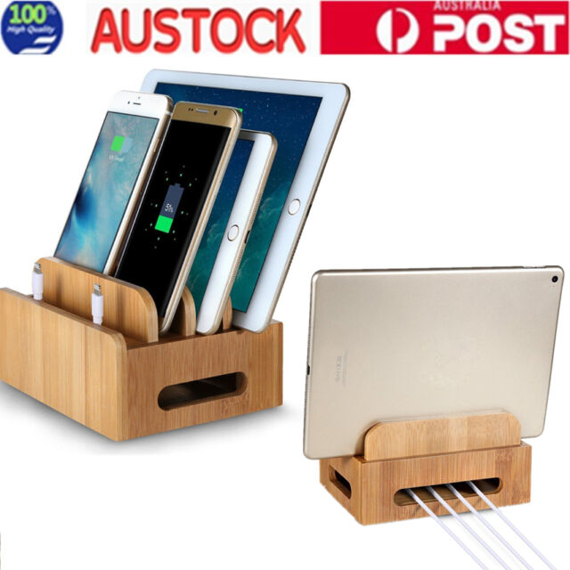 Bamboo Charging Station Multi-Device Organization Stand for Tablets Smartphones