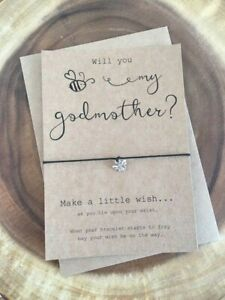 Will You Be My Godmother Card Godfather Card WISH BRACELET GIFT CHRISTENING NEW