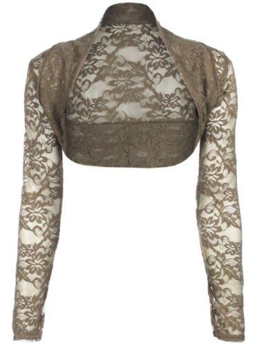 New womens ladies bolero cropped cardigan  long sleeve open lace shrug