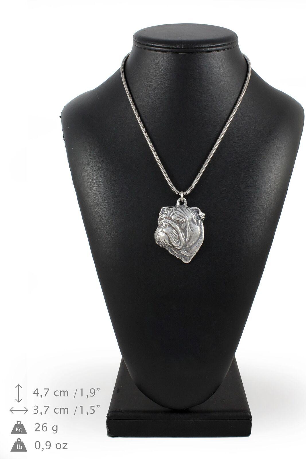 Bouledogue Anglais - silver plaqué collier sur une cordon en silver Art Dog FR
