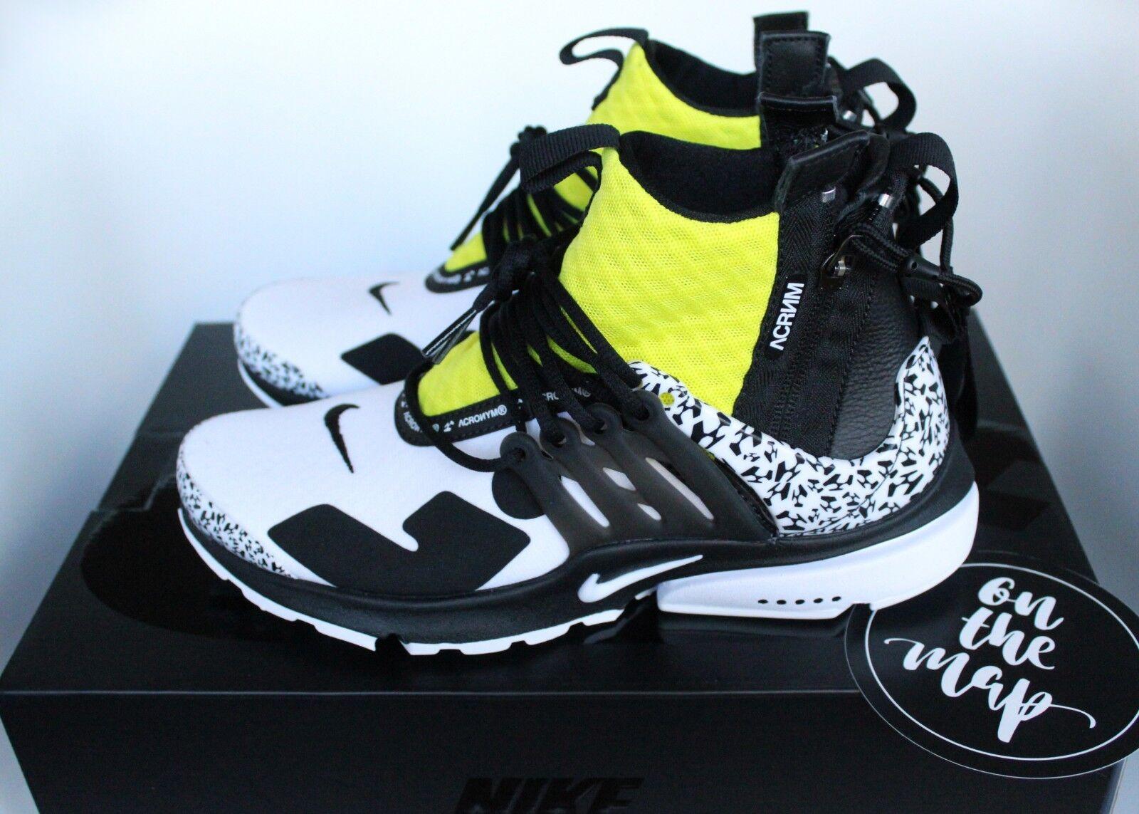 Nike Air x Acronym Presto Mid White Black Yellow Green US New