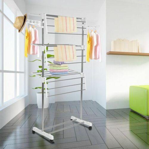 Mobiler Wäscheständer Wäschetrockner-Turm Seitenflügel auf 3//4 Ebenen klappbar