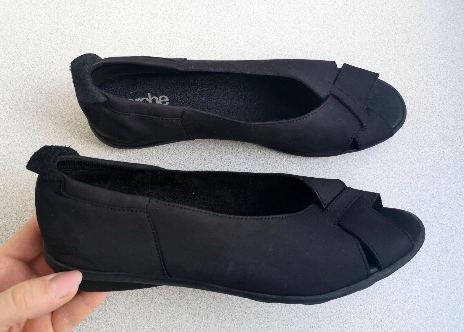 Arche Negro Gamuza Cuña Punta Abierta Zapatos Sandalias Francia EU40