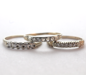 Fun Vintage Diamond Stackable Wedding Band Stack Rings 14k Gold Size