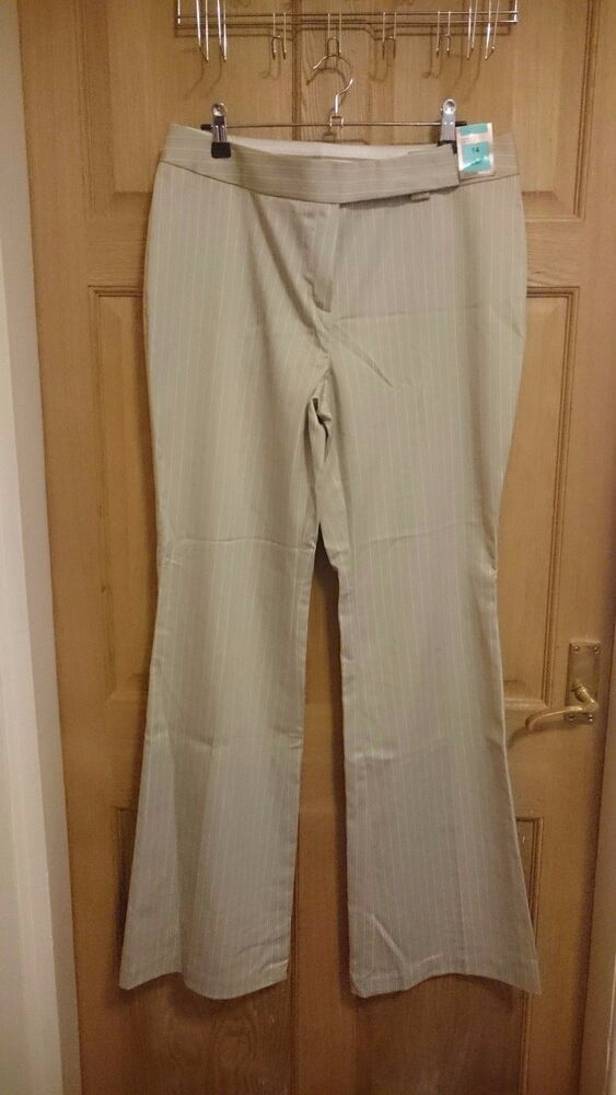 """Bnwt Femme Ex M&s Jambe Large Pantalon à Rayures Verticales Taille 14 L W32"""" X L33.5"""" Nw4"""