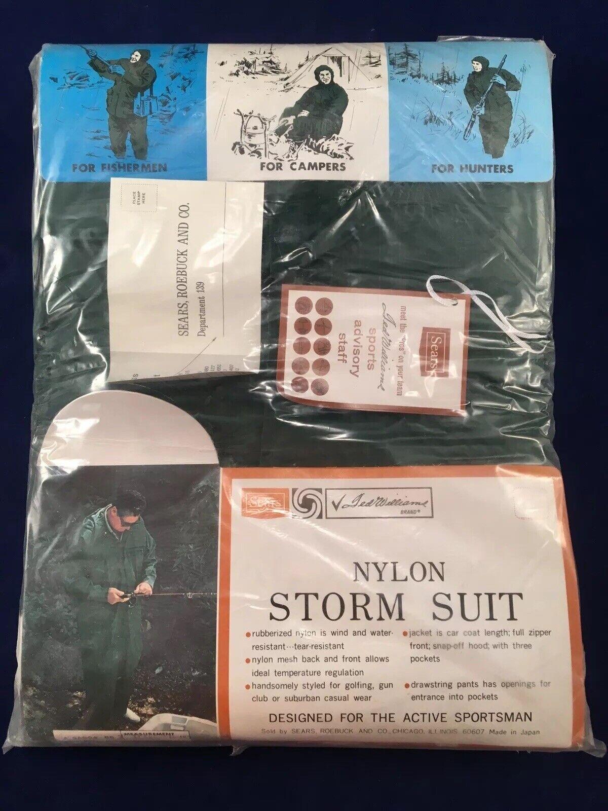 Vintage Sears Ted Williams Nylon Storm Suit XL Jagd Sportsman Unopend