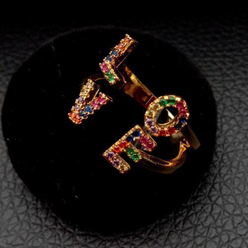 Lettre d/'amour Coloré Zircons Micro Pave Fashion Ring Cz Ouvert Adapter Rings