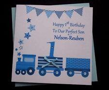 Handmade personalised boys birthday card nephew son godson grandson handmade personalised boys train birthday card 1st 2nd 3rd son grandson nephew bookmarktalkfo Images
