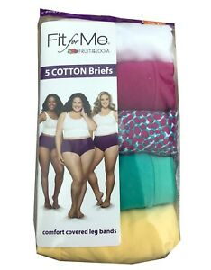 039aa0bf7086 5 Turquoise Pink Fruit of The Loom Fit for Me Cotton Briefs Panties Size 12