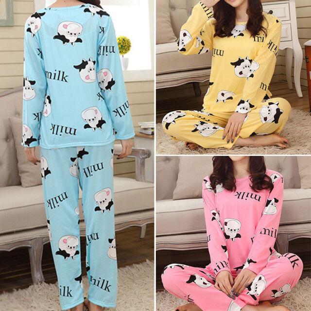 Women Cartoon Pajamas Set Long Sleeve Sleepwear Cute Leisurewear Homewear New