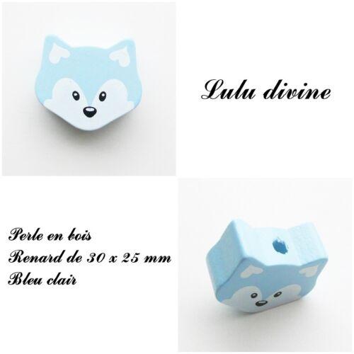 Bleu clair Perle plate moyenne Tête de renard Perle en bois de 30 x 25 mm