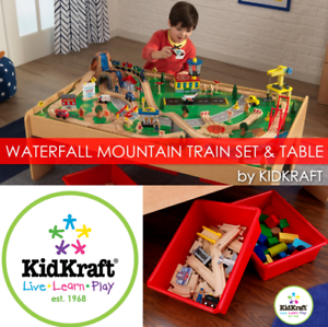 KidKraft Waterfall Mountain Toy Train Set And Large Wooden Train Table Toys Kids