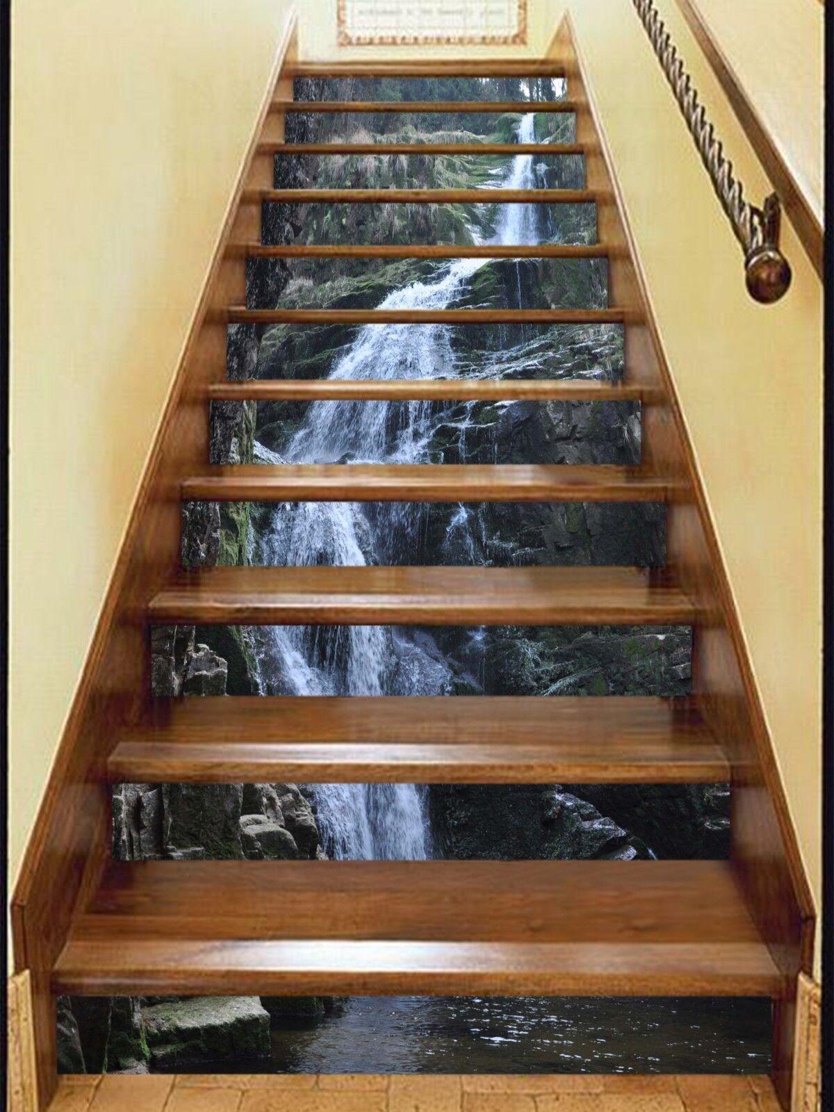 3D Waterfall 06 treppe aufsteher dekoration foto Mural Vinyl abziehbild wandpaper CA