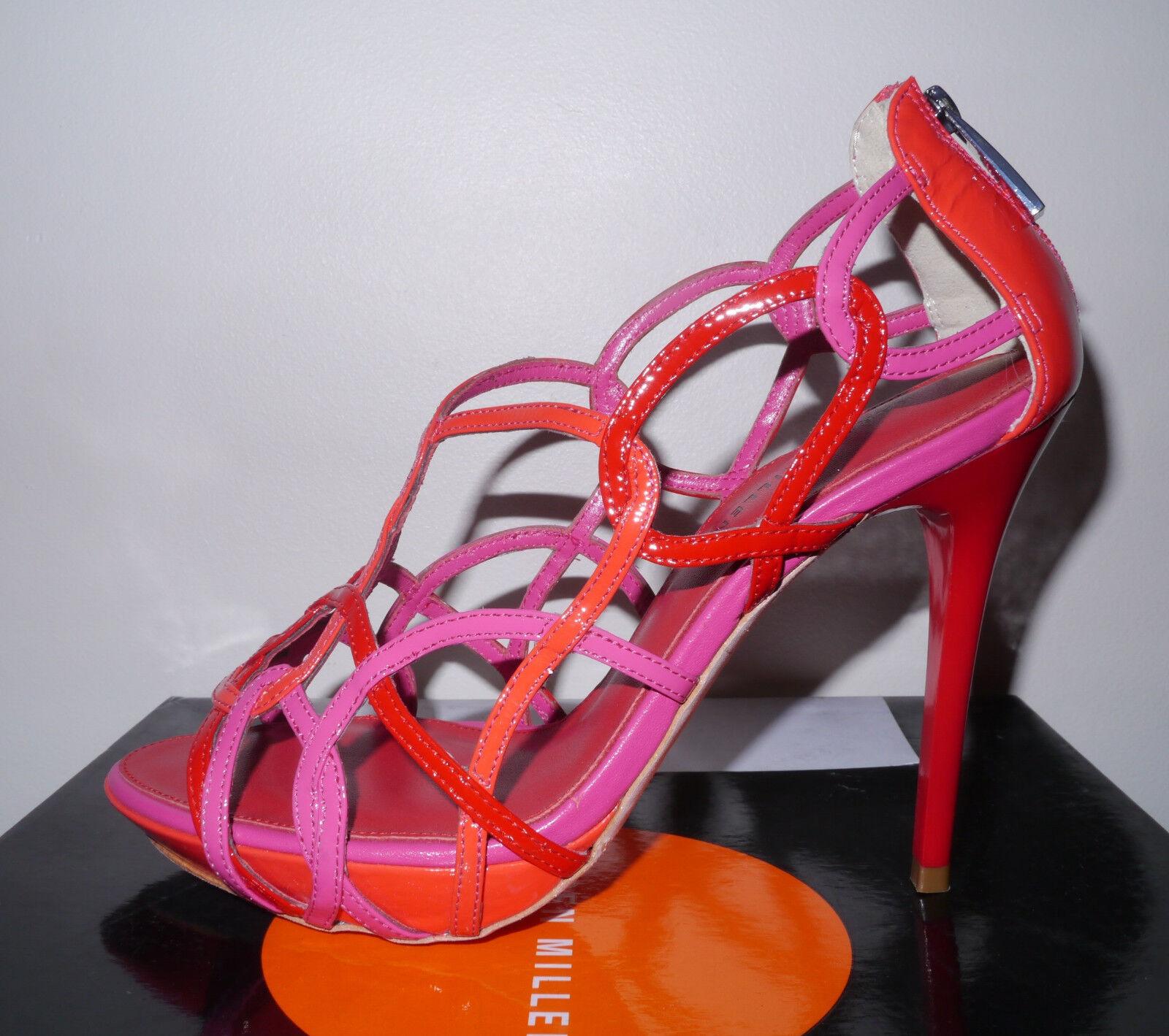 BNWB Karen Millen ROT Pink Orange Strappy Leder Platform Sandales Schuhes 38/5