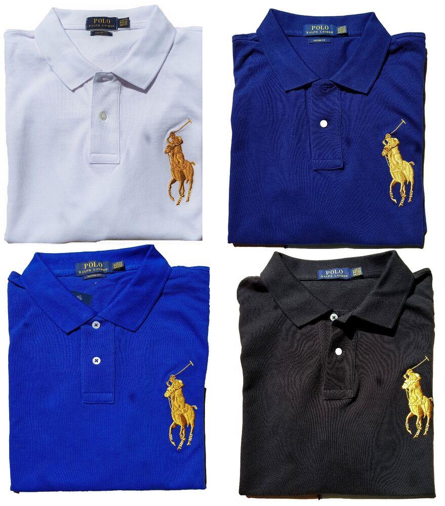 * Neuf Avec étiquettes-polo Ralph Lauren Big Gold Pony Men's Polo Shirt-custom Fit: S - 2xl