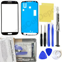 Samsung Galaxy S4 -solid Black- Front Glass Lens Screen Replacement Kit