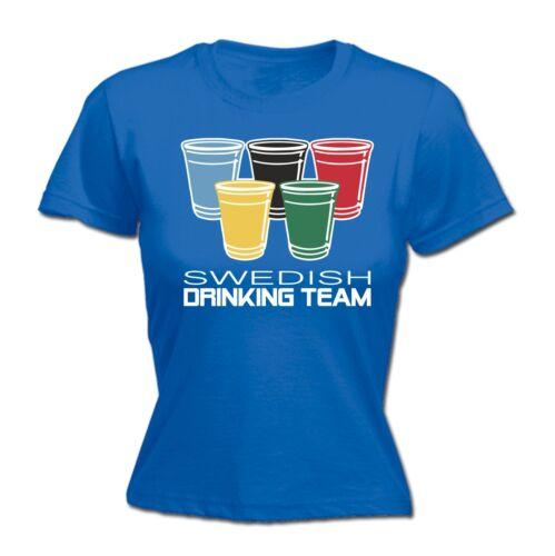 Swedish Drinking Team Blague Drôle Pub Bar Sport Ajusté T-Chemise Anniversaire Cadeau Cool