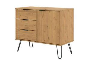 Waxed Pine Retro Small 1 Door 3 Drawer Sideboard Cupboard on Metal Hairpin Legs