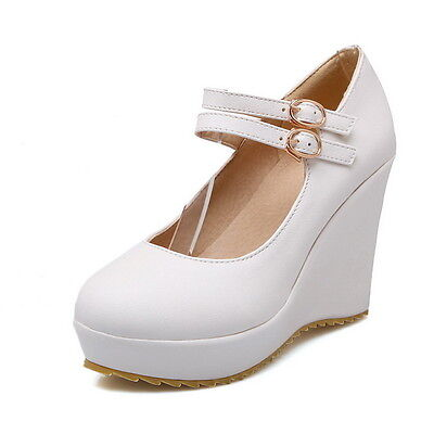 2015 Womes High Platform Wedge Heel Wedding Sweet Candy Buckle Mary Janes Shoes
